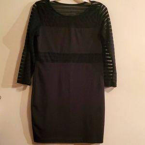 Black peekaboo lined dress